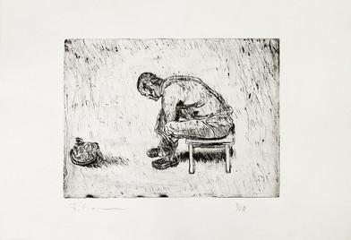 Johann Louw | Sittende Man | n.d. | Drypoint Etching | 35 x 49.5 cm | Edition of 20