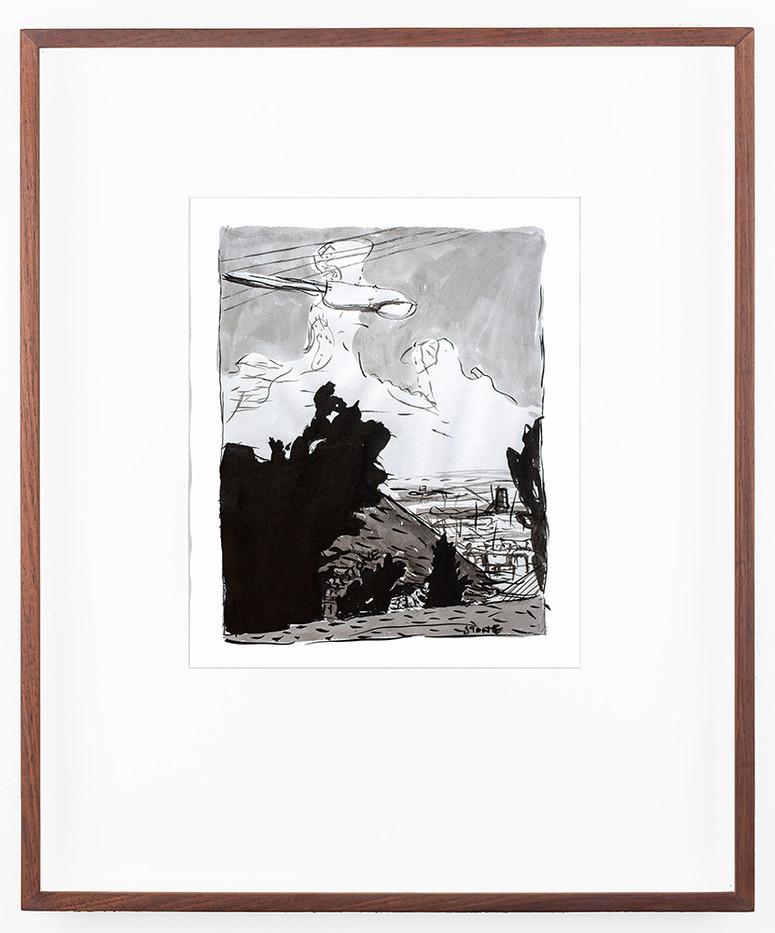 Simon Stone | Jeppestown from Fox Street | 1983 | Gouache on Paper | 27 x 21 cm
