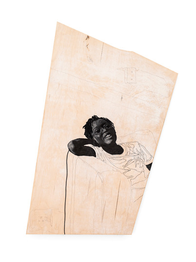 """Luyanda Zindela   """"Yazi, I'm glad that my guardian angel is also an angel of vengeance."""" """"Because, I'm not done wrong very often, but those who manage to do so, dont end up doing very well afterwards"""".   2021   Acrylic Paint Marker & Graphite on Pine Board   77 x 48 cm"""