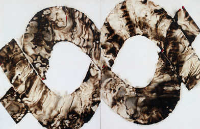Sandile Zulu | Artoms Archetype Forms Case 2 | 2012 | Fire, Water, Air and Earth on Canvas | 135 x 220 cm