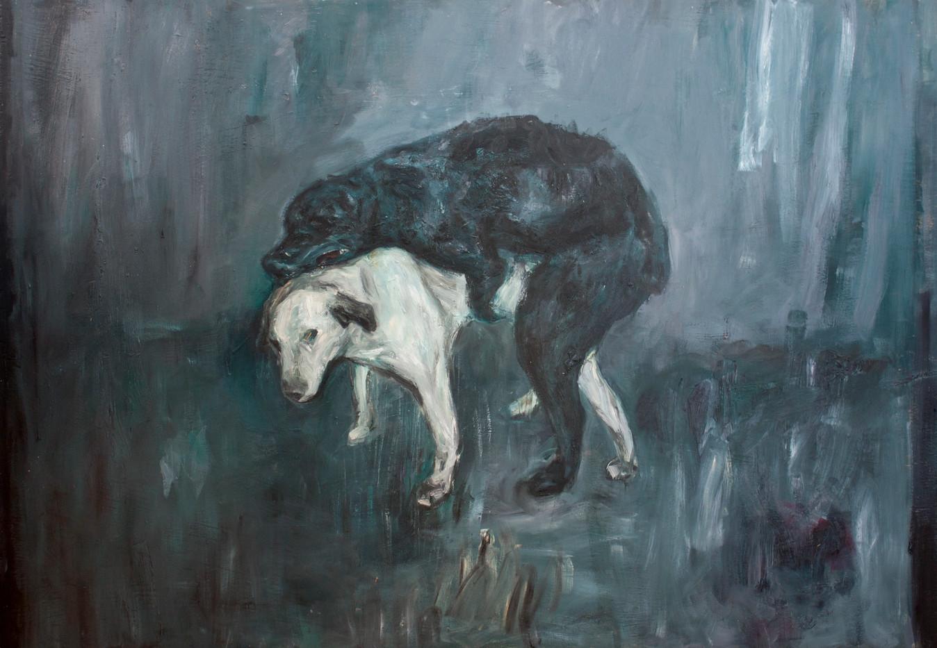 Johann Louw   Twee Honde   2013   Oil on Plywood   122 x 174 cm