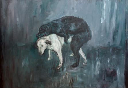 Johann Louw | Twee Honde | 2013 | Oil on Plywood | 122 x 174 cm