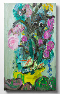 Georgina Gratrix | Weepy Flowers | 2016 | Oil on Canvas | 50 x 30 cm