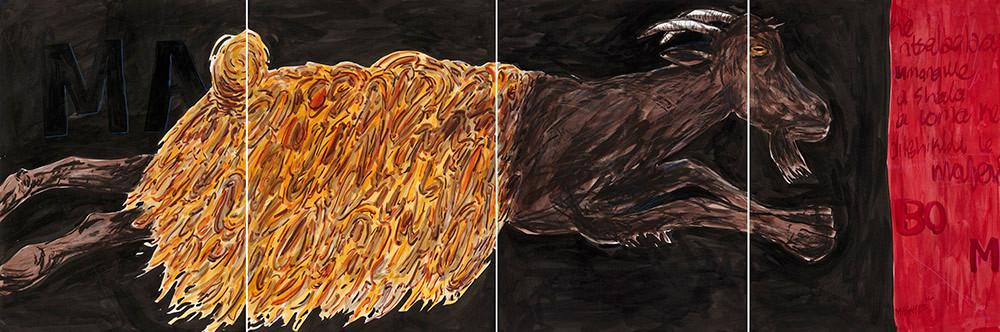 Colbert Mashile   The Bride III   2014   Mixed Media on Paper   76.5 x 228 cm
