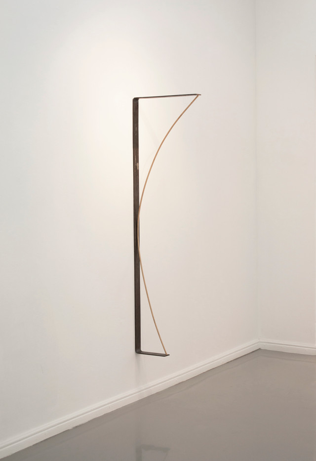 Ruann Coleman | Radius | 2014 | Steel, Dowl Rod and Magnets | 145 x 41.5 x 5 cm