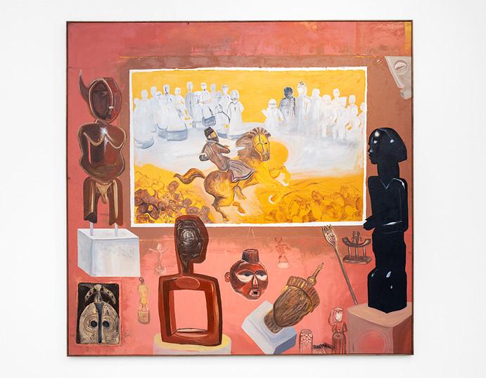 """Phoka Nyokong   """"Hiseteri e e sa felelang ka ga Ntwa ya kwa Benin City"""" (The Unfinished History of the Battle at Benin City)   2021   Oil on Canvas   215 x 215 cm"""
