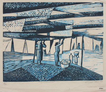 Peter E Clarke   The Washer Woman 3   Color Reduction Lino on Paper   40.5 x 53 cm   Edition of 20