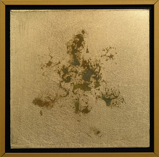Pierre Vermeulen   1 1 Hair Orchid Print nr. 1   2017   Gold Leaf Imitate on Aluminium, Sweat   14.3 x 14.3 cm