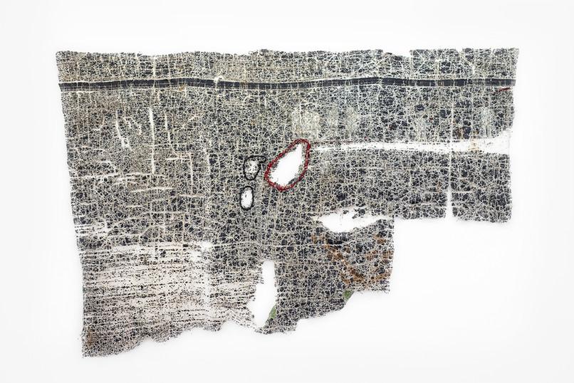 Wallen Mapondera | Trap in Plain Sight | 2018 | Found Tarpaulin, Waxed Thread | 171 x 263 cm