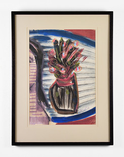 Charles Gassner   Vase with Flowers   n.d.   Acrylic on Paper   83 x 63 cm