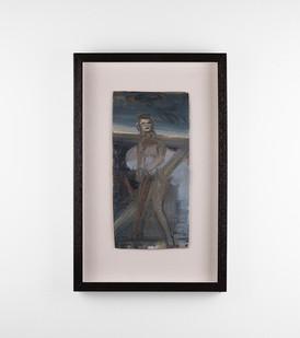 Simon Stone | Figure in a Dark Landscape | 2018 | Oil on Cardboard | 35.5 x 17 cm