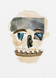 Kate Gottgens   Vanitas I (Skull with three gold teeth)   2020   Collage on Paper   77 x 56 cm