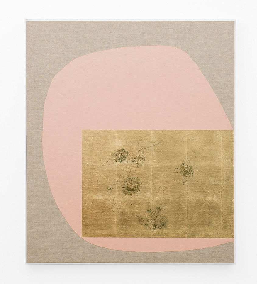 Pierre Vermeulen   Hair orchid sweat print, dust pink form   2018   Gold Leaf Imitate, Sweat and Acrylic on Belgian Linen   97 x 84 cm