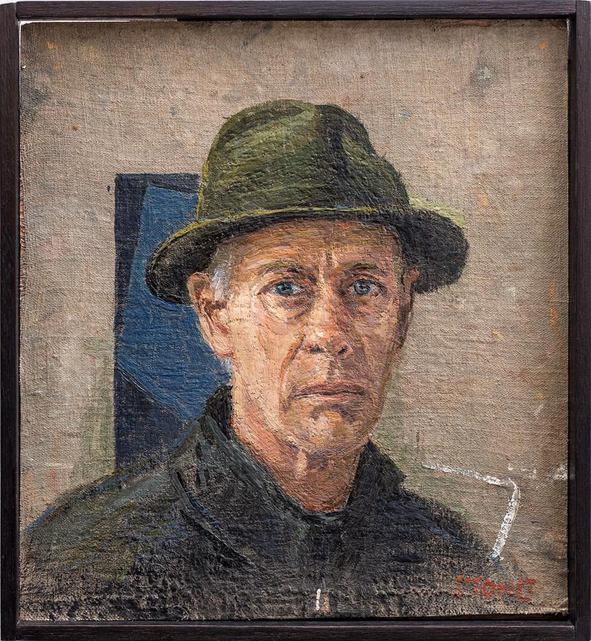 Simon Stone | Soft Hat | 2019 | Encaustic on Cloth on Board | 34 x 31 cm