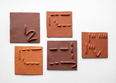Pyda Nyariri   Pidgin Tile Set 5   2019   Fired Earthenware Clay   Dimensions Variable