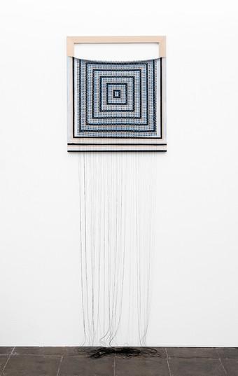 """Bonolo Kavula   """"Rebaone""""   2020   Punched Shweshwe, Acrylic on Canvas, Thread   235 x 70 cm"""