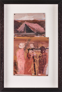 Simon Stone | The Tent | 2017 | Oil on Board | 32 x 17.5 cm