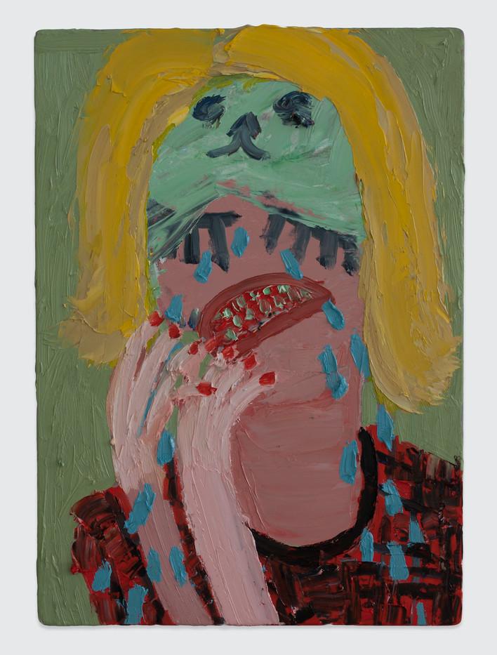 Georgina Gratrix | Weeping Woman | 2014 | Oil on Board | 70 x 50 cm