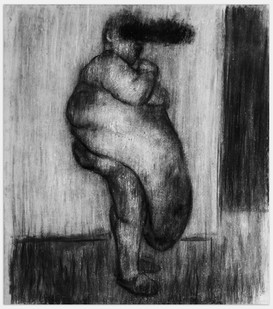 Johann Louw |  Meisie met Maag | 2014 | Charcoal and White Pastal on Paper | 141 x 125 cm