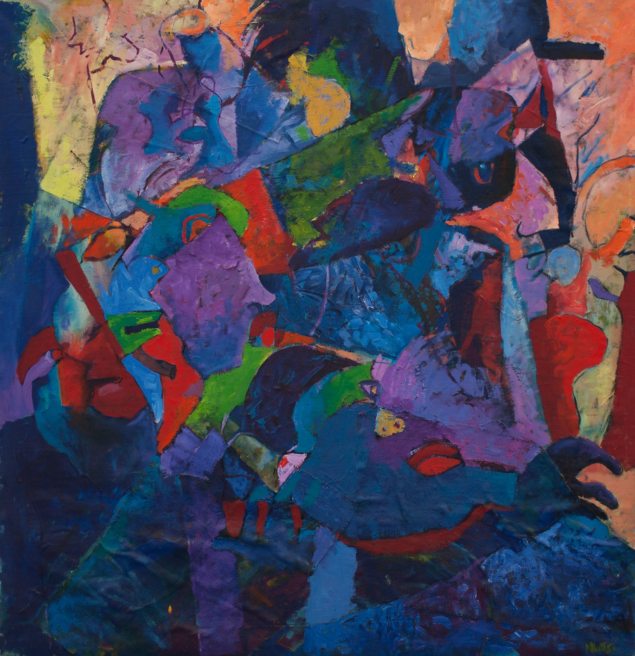Tony Nkotsi | The People | n.d. | Oil on Canvas | 138 x 134 cm