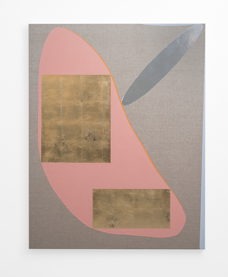 Pierre Vermeulen   Hair orchid sweat print, pink and grey with mirror pool   2018   Sweat, Gold Leaf Imitate, Shellac and Acrylic on Belgian Linen   150 x 120 cm