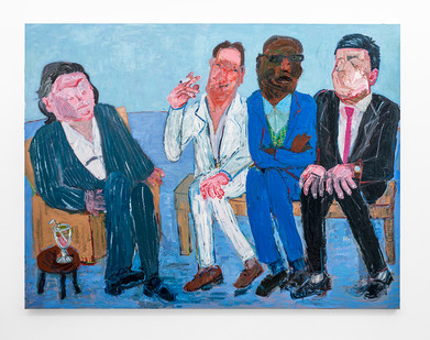 Georgina Gratrix | The Milkshake Meeting | 2018 | Oil on Canvas | 190 x 251 cm