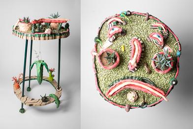 Marlene Steyn | Sad zen garden with peeled cucumber | 2016 | Oil on Ceramic and Wood, Succulent and Split Lentils | 86 x 48 x 43 cm