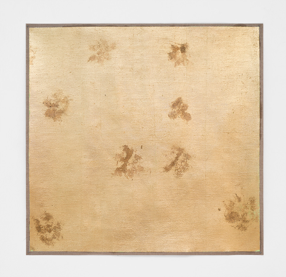 Pierre Vermeulen | Untitled | 2017 | God Leaf Imitate, Sweat & Green Oil on Canvas | 58 x 59 cm