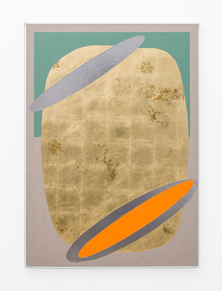 Pierre Vermeulen   Hair orchid sweat print, orange and oxide green with mirror pool   2018   Sweat, Gold Leaf Imitate, Shellac and Acrylic on Belgian Linen   141 x 102 cm
