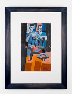 Peter Clarke | The Puppeteers | 1969 | Acrylic on Paper | 43 x 25.5 cm