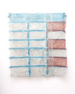Pyda Nyariri   Residual Trace 605 / Blue, Red   2021   Clay Slip, Cotton Guaze on Canvas   106 x 99 cm