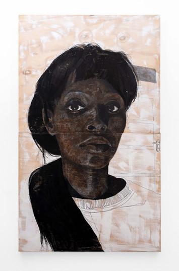 """Luyanda Zindela   """"Ngikhathele. Ngicela ukhulume into ecacile""""   2021   Acrylic Paint Marker & Graphite on Pine Board   200 x 120 cm"""