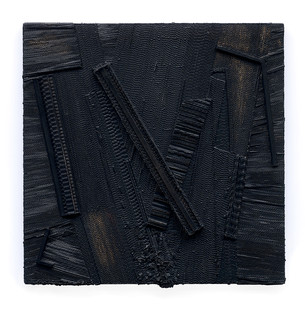 Galia Gluckman | restoration | 2019 | Construction with Canvas Textured Paper, Acrylic and Bonding Tape on Board | 50 x 50 cm