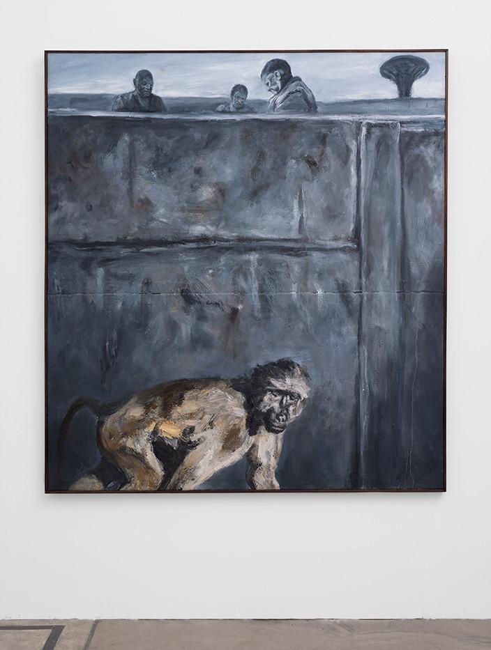 Johann Louw | Bobbejaan Teen Muur / Figure | 2017 | Oil on Panel | 187 x 172 cm