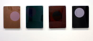 Helen A. Pritchard   Untitled - Carrier 26, 27, 28, 29   2013   Oil and Pigment on Board with Perspex   40 x 30 cm Each