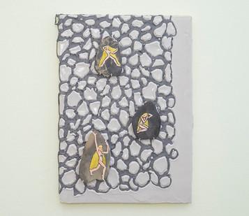 Marlene Steyn & Gabrielle Kruger | Rocking Herselves | 2018 | Acrylic on Canvas & Oil on Rock | 60 x 42 cm