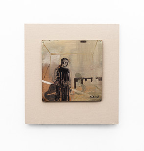 Simon Stone | Man Alone | 2020 | Oil on Cardboard | 24 x 24 cm