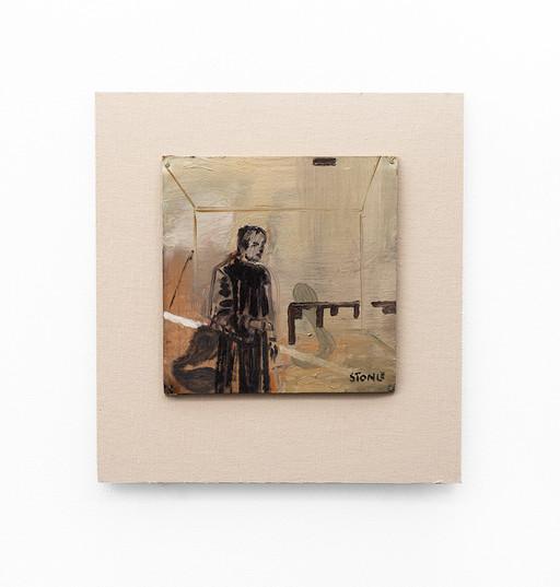 Simon Stone   Man Alone   2020   Oil on Cardboard   24 x 24 cm