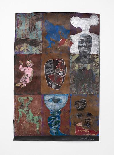 Ronald Muchatuta   Thessalonian Green II   2021   Acrylic on Paper   170 x 118 cm