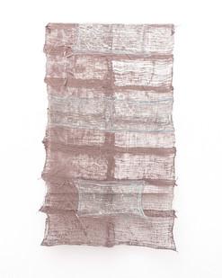 Pyda Nyariri   Residual Trace 201/ Brown, Blue   2021   Clay Slip, Cotton Gauze on Canvas   110 x 64 cm