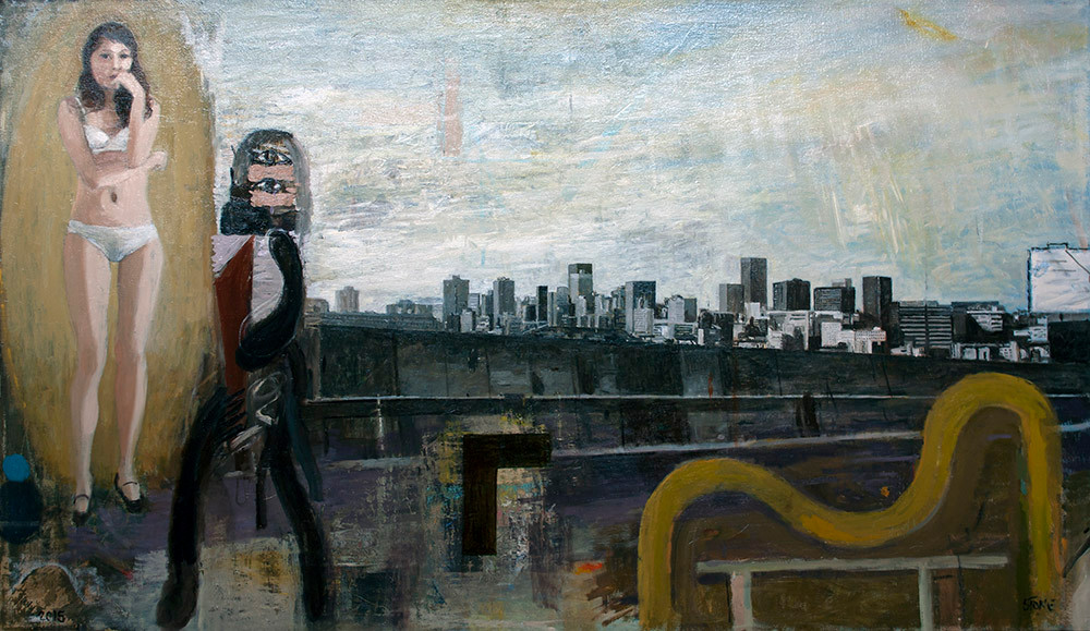 Simon Stone | Fibre Optics | 2015 | Oil on Canvas | 106 x 184 cm