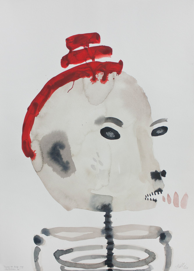 Karlien de Villiers   Trying to Keep My Skeletons In   2013   Watercolour on Paper   51 x 36 cm