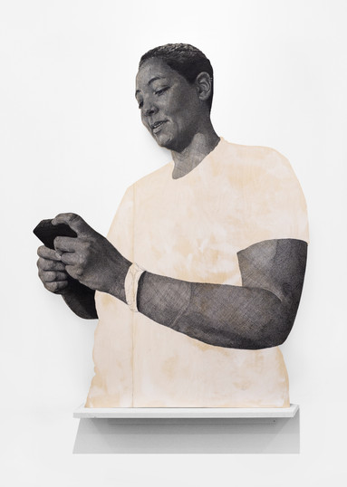 """Luyanda Zindela   """"The first time I felt at home here was when you let me add music to your playlist"""" """"Well... my playlist is called, at the house"""".   2021   Acrylic Paint Marker & Graphite on Pine Board   243 x 182 cm"""