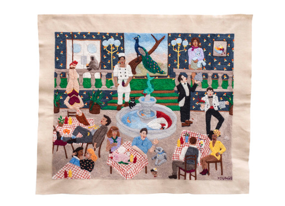Michaela Younge | 'He had worked there for as long as he could wield a knife but he still dreamed of the circus' | 2020 | Merino Wool on Felt | 70 x 83.5 cm