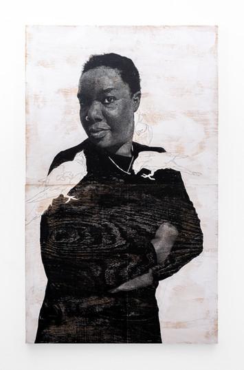 """Luyanda Zindela   """"Luyanda, teti uletina inama mpaka nempela.""""   2021   Acrylic Paint Marker & Graphite on Pine Board   200 x 120 cm"""
