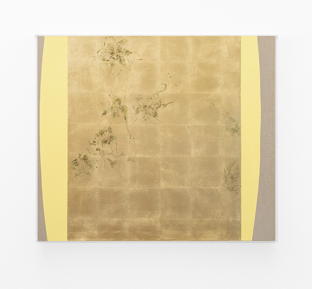 Pierre Vermeulen   Hair orchid sweat print, yellow form   2018   Sweat, Gold Leaf Imitate, Shellac and Acrylic on Belgian Linen   105 x 90 cm