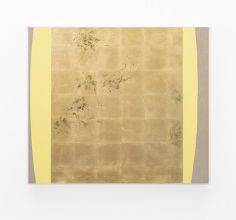 Pierre Vermeulen | Hair orchid sweat print, yellow form | 2018 | Sweat, Gold Leaf Imitate, Shellac and Acrylic on Belgian Linen | 105 x 90 cm