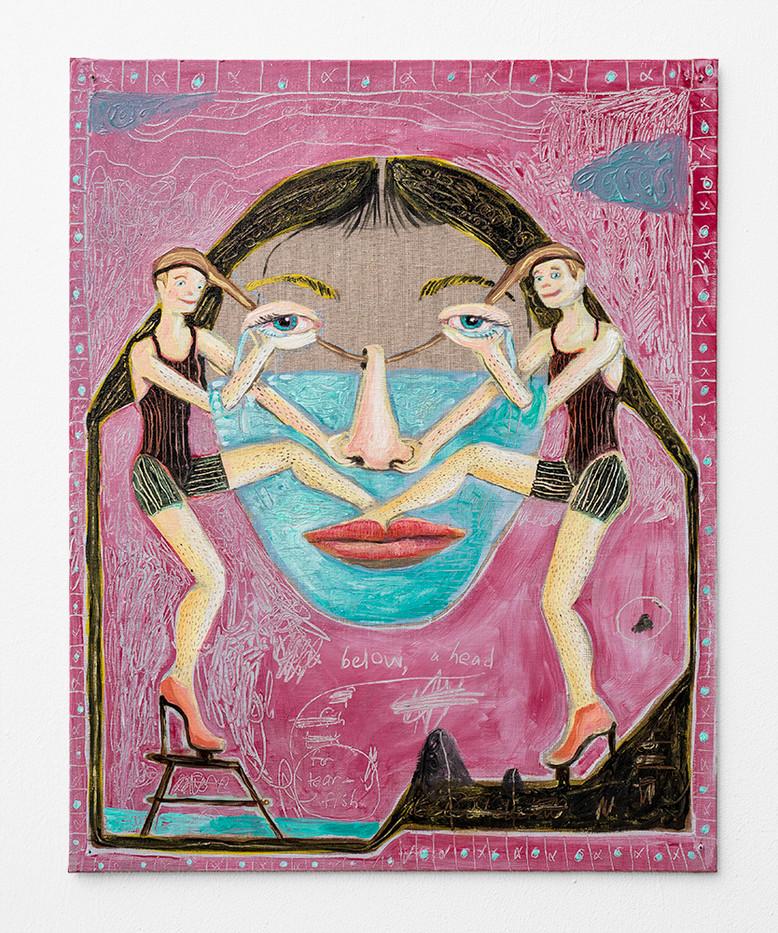 Marlene Steyn | Below, a head for tear-fish | 2018 | Oil on Linen Board | 51 x 40 cm