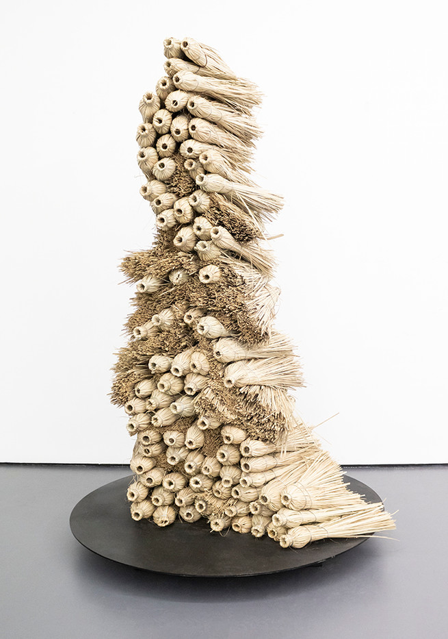 Usha Seejarim   Her Latent Power Lies Dormant   2019   Grass Brooms and Wire   196 x 127 x 53 cm
