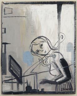 Simon Stone   Girl at the Desk   2014   Oil on Cardboard   32 x 26 cm